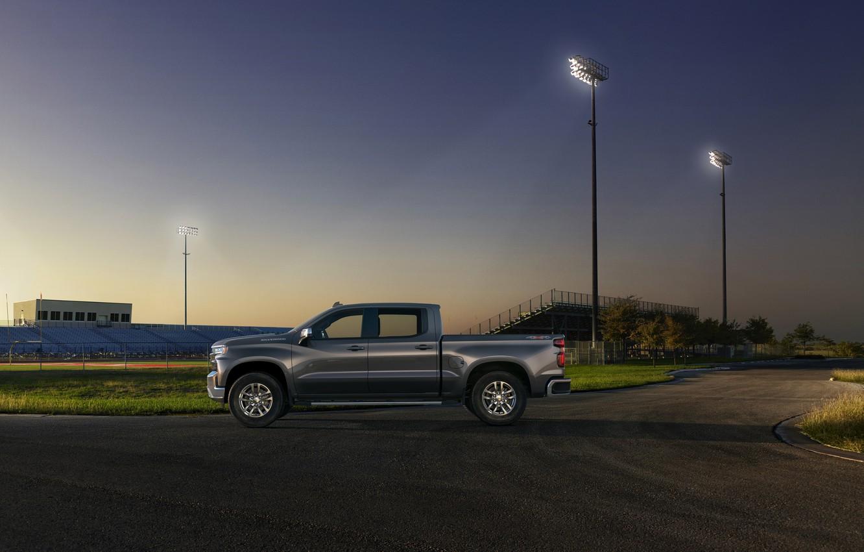 Photo wallpaper Truck, Silver, Silverado, Z71, Pick Up, Chevroet, 2019