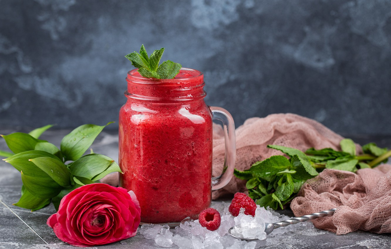 Photo wallpaper flower, berries, raspberry, rose, Cocktail