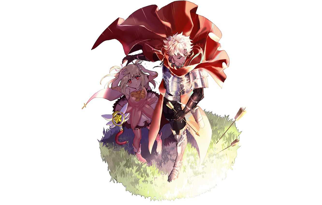 Photo wallpaper anime, art, girl, guy, arrows, characters, defender, Fate Grand Order