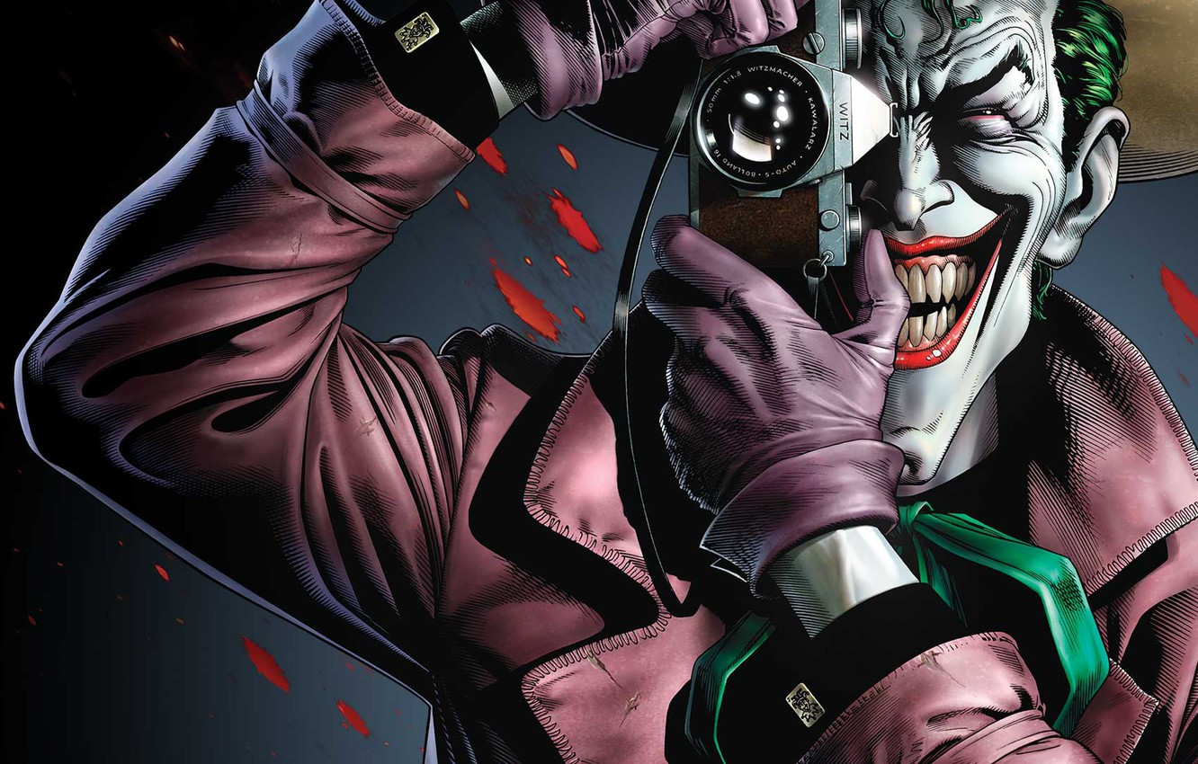 Photo wallpaper Smile, The camera, Blood, Joker, Teeth, Gloves, Hat, Comic, Smile, Joker, Villain, DC Comics, Hat, …