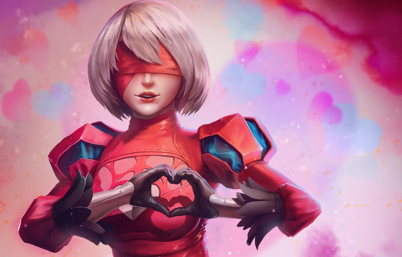 Photo wallpaper game, mecha, heart, anime, valentine, warrior, strong, bishojo, guardian, Nier Automata, Nier: Automata