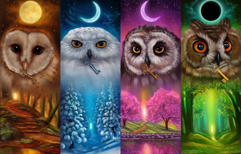 Photo wallpaper the moon, keys, owls, Keepers of the keys