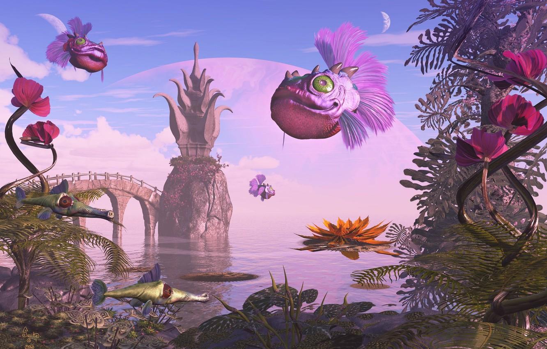 Photo wallpaper bridge, vegetation, planet, creatures, Monroe Fish