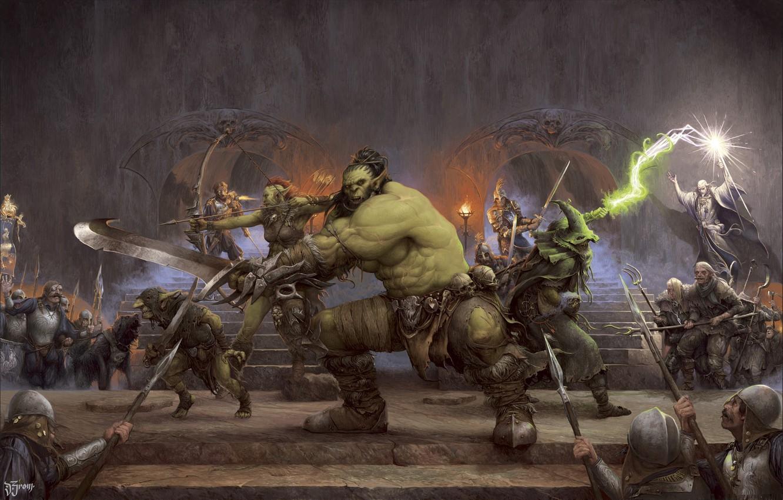 Photo wallpaper art, battle, hall, Orc, fantasy, ORCQUEST COVER, Daniel Zrom