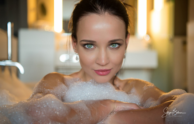 Photo wallpaper look, foam, model, portrait, makeup, brunette, hairstyle, bath, beauty, bokeh, to clean, Angelina Petrova, Angelina …