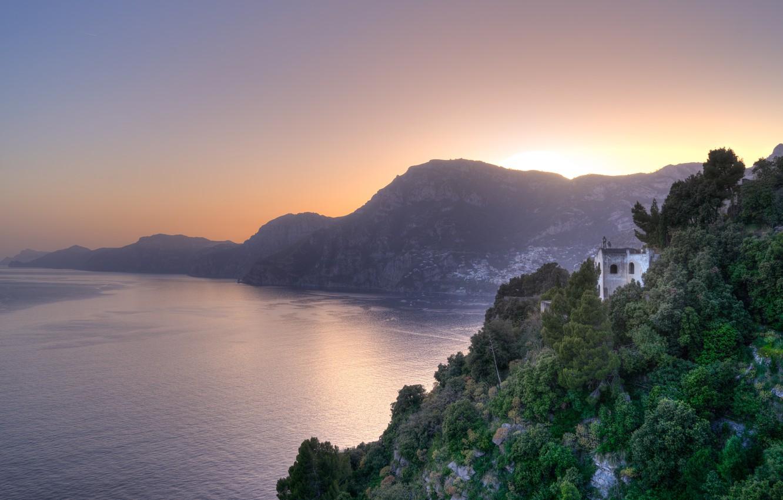 Photo wallpaper Sunset, Nature, Panorama, Italy, Landscape, Landscape, Italy, Amalfi, Sunset, Amalfi, Italia, Salerno, Panorama, Salerno, Gulf …