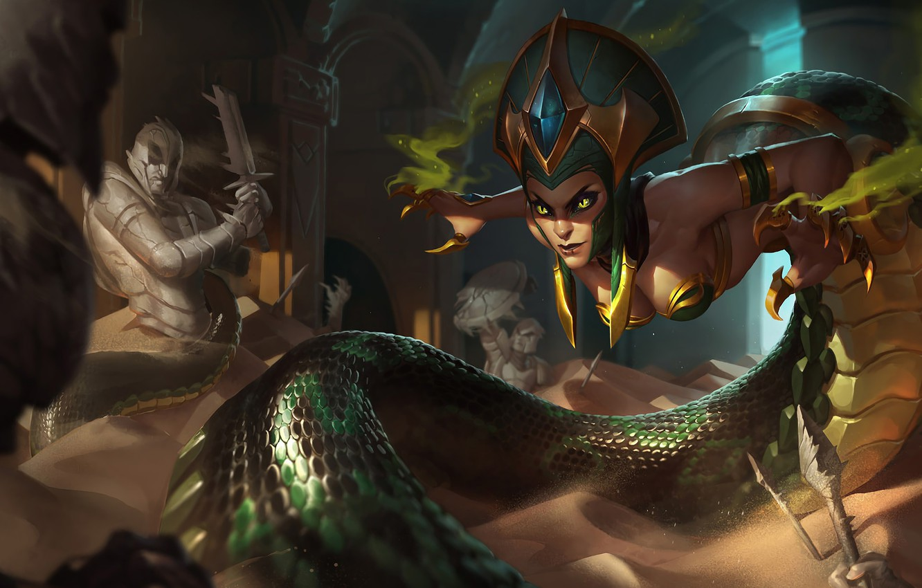 Photo wallpaper Sand, The game, Snake, Sword, Eyes, Claws, Snake, Shield, Eyes, Game, Sand, Cassiopeia, Cassiopeia, League …