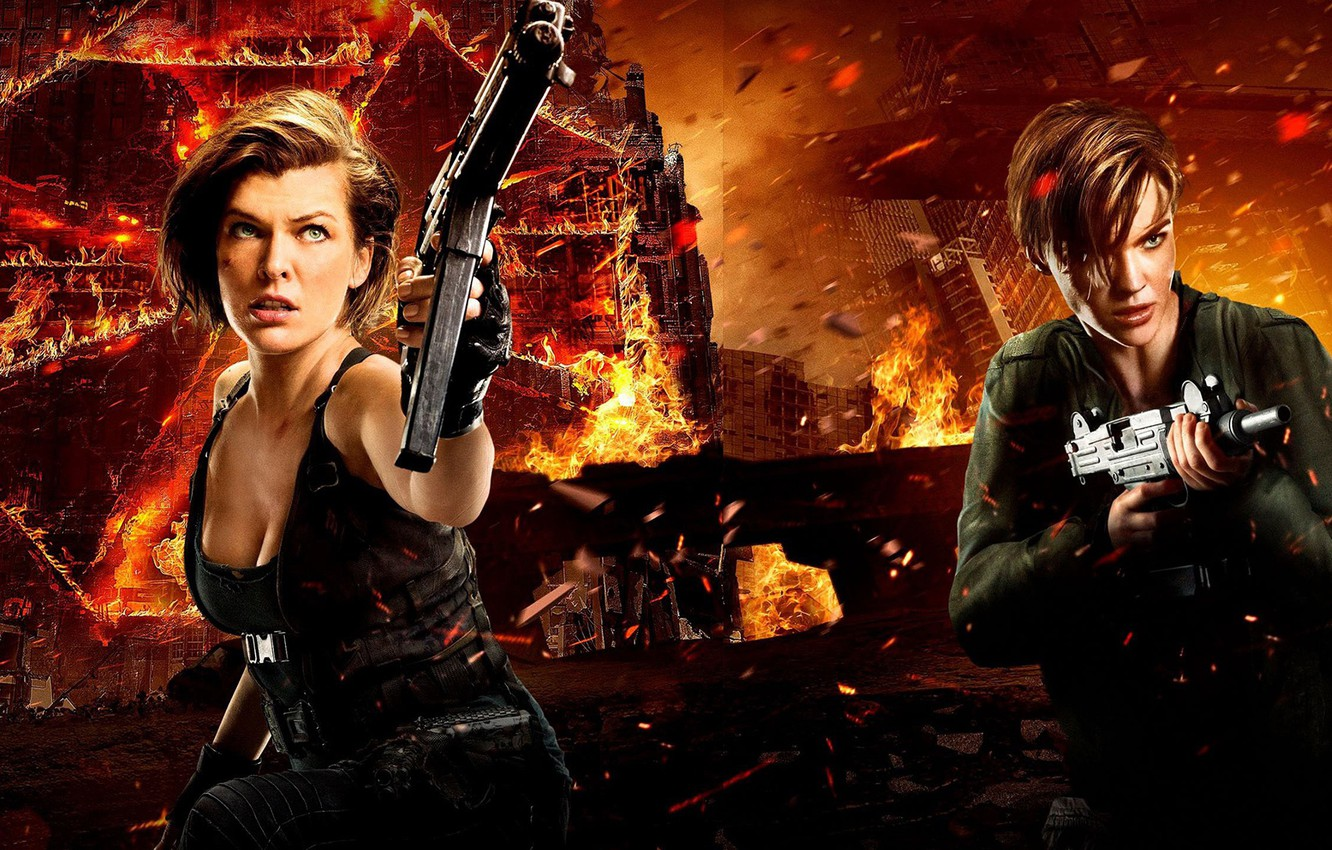 Photo wallpaper weapons, background, fiction, fire, flame, sparks, action, poster, Milla Jovovich, horror, Milla Jovovich, Ruby Rose, …