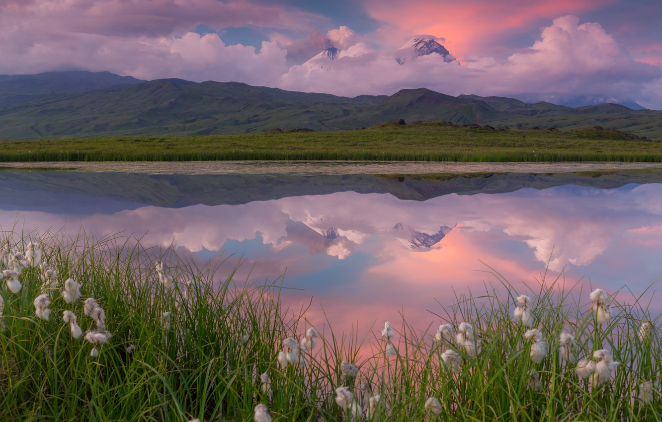 Photo wallpaper clouds, reflection, mountains, nature, lake, the volcano, Kamchatka