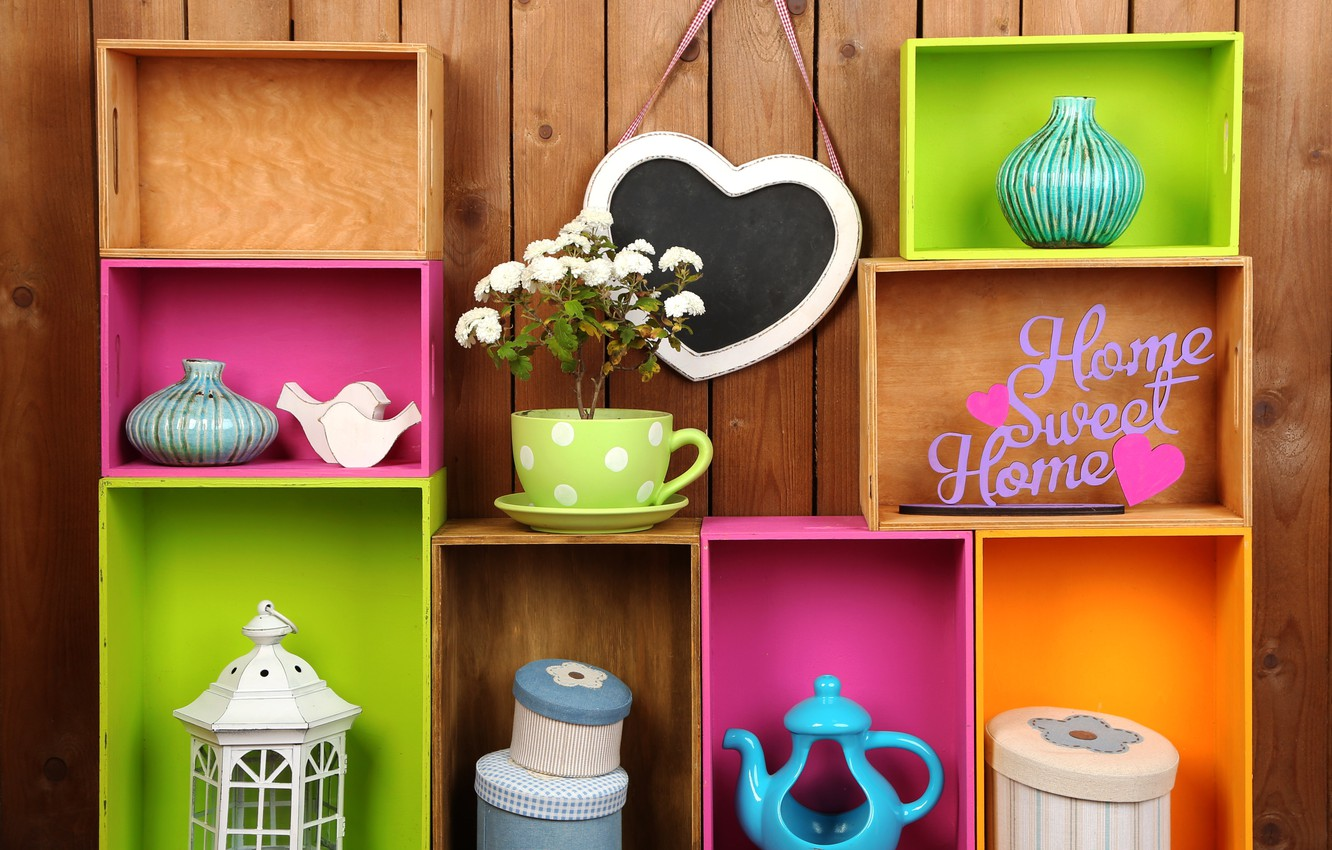 Photo wallpaper flowers, colors, colorful, box, vase, design, flowers, interior, shelves, home, decoration, lantern