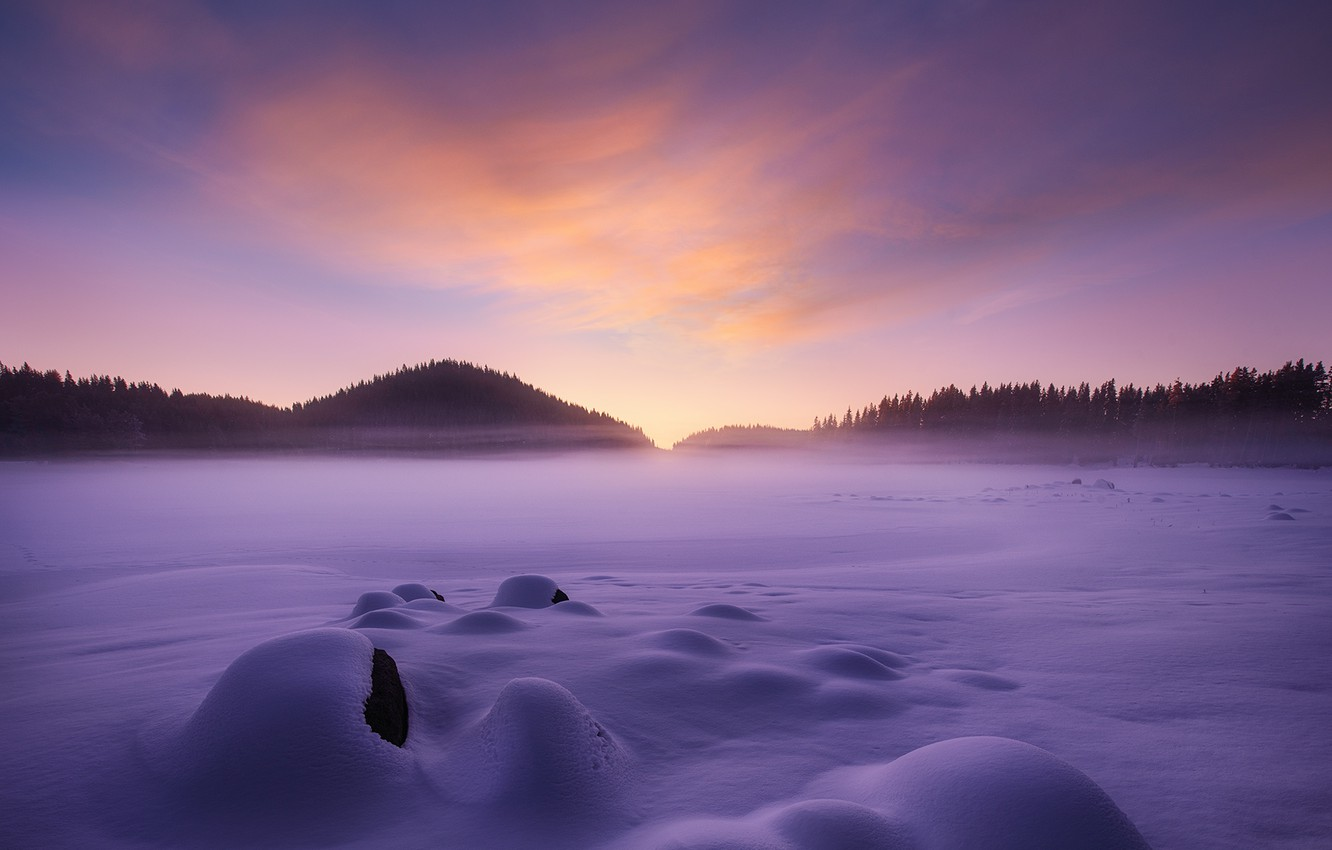 Photo wallpaper winter, the sky, snow, paint, morning