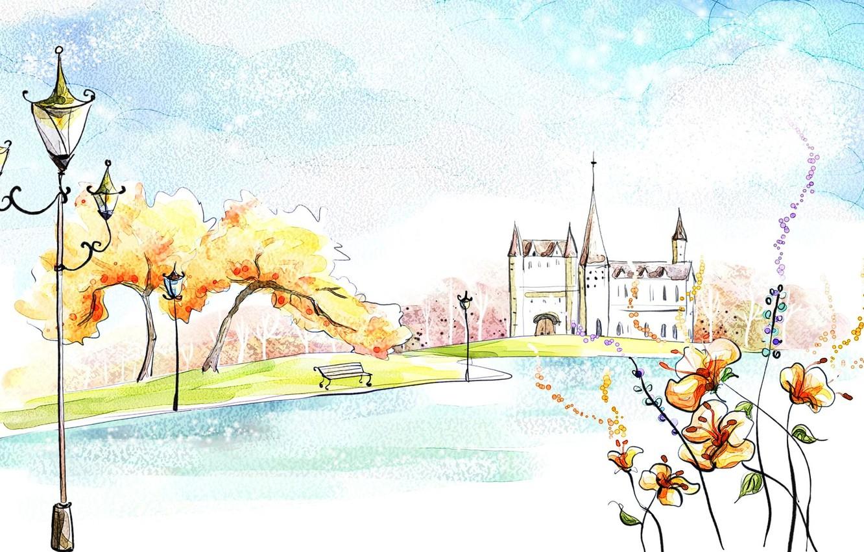 Photo wallpaper autumn, trees, flowers, lake, Park, castle, fantasy, figure, watercolor, painting