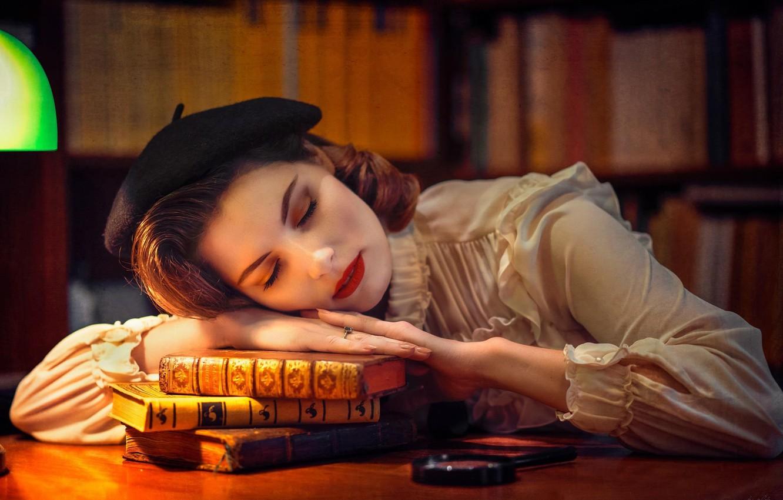 Photo wallpaper face, mood, books, sleep, the situation, makeup, library, takes, sleeping girl, iBi Photo, Daria Góźdź
