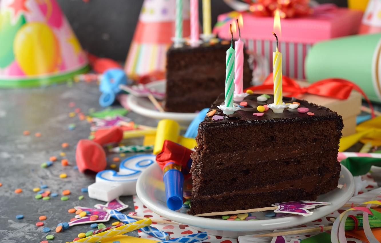 Photo wallpaper balloons, candles, cake, cake, decoration, Happy, Birthday, Birthday