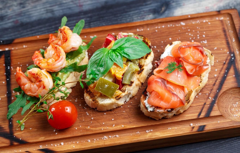 Photo wallpaper greens, shrimp, appetizer, salmon, bruschetta