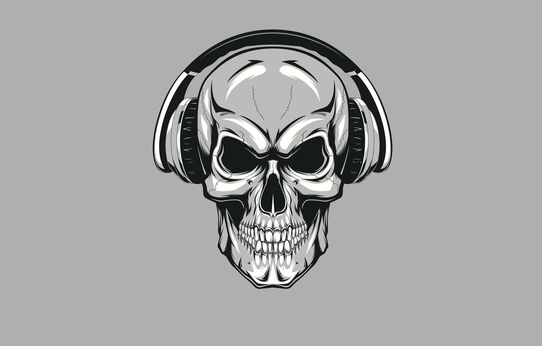 Photo wallpaper skull, minimalism, headphones, skeleton, sake