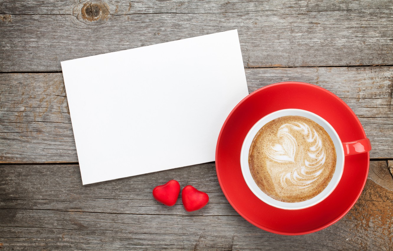 Photo wallpaper love, gift, heart, coffee, Cup, hearts, love, wood, cup, romantic, hearts, Valentine's Day, gift, coffee