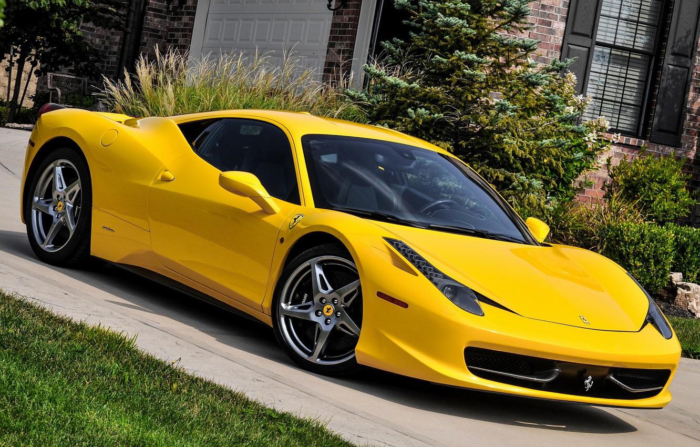 Photo wallpaper Ferrari, 458, Yellow, Italia