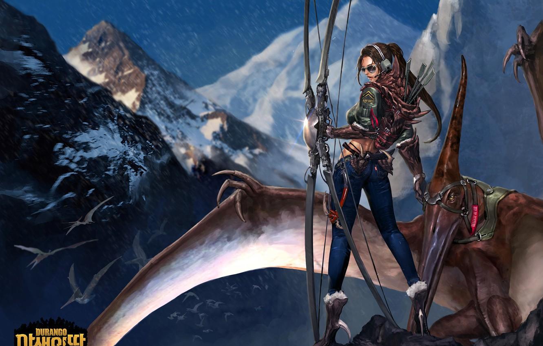 Photo wallpaper mountains, the game, dinosaur, art, survival, MMORPG, Durango, online, MMO, Mobile, The Raptor, nazdik, Ain …