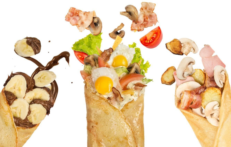 Photo wallpaper mushrooms, egg, chocolate, bananas, pancakes, filling, ham