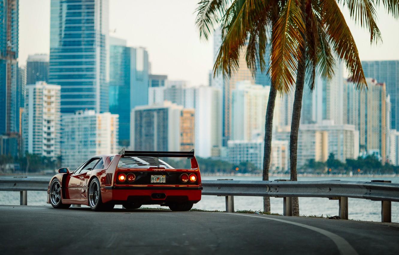 Photo wallpaper the city, morning, photographer, Ferrari, F40, Florida, Miami, Larry Chen
