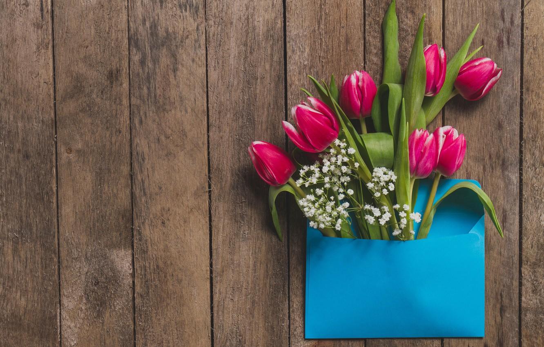 Photo wallpaper flowers, tulips, pink, fresh, wood, pink, flowers, tulips, spring