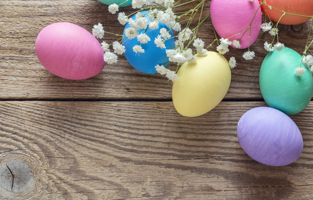 Photo wallpaper flowers, spring, Easter, wood, flowers, spring, Easter, eggs, decoration, Happy, the painted eggs