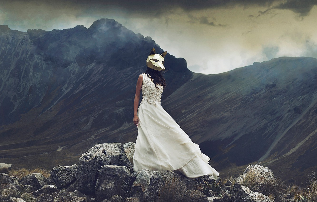 Photo wallpaper girl, mountains, stones, the situation, dress, mask