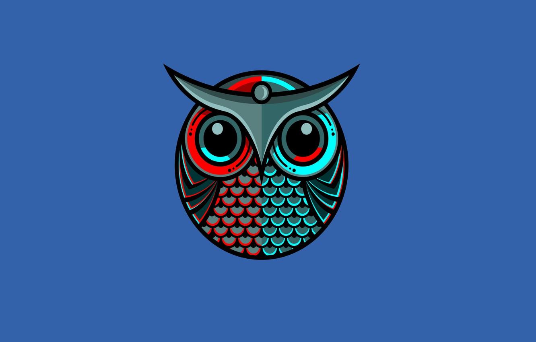 Photo wallpaper blue, owl, bird, minimalism, owl