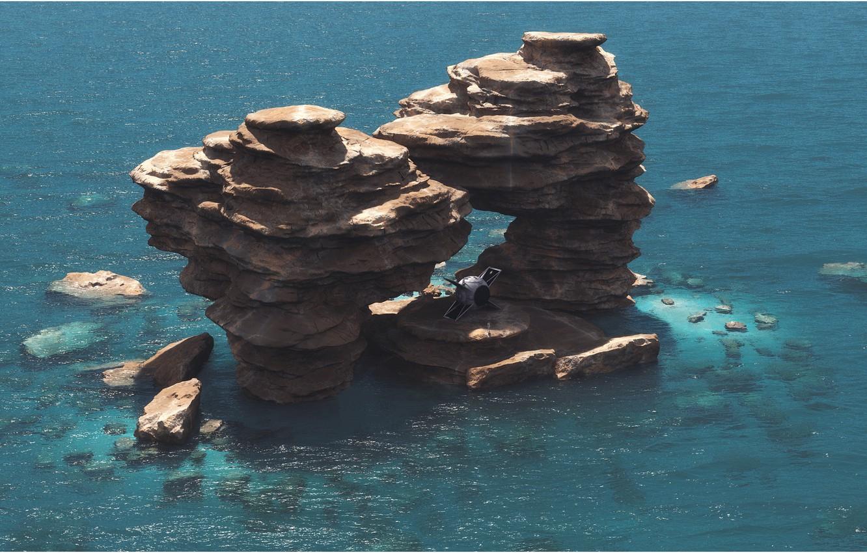 Photo wallpaper rocks, island, pond, camera, Lunch Break