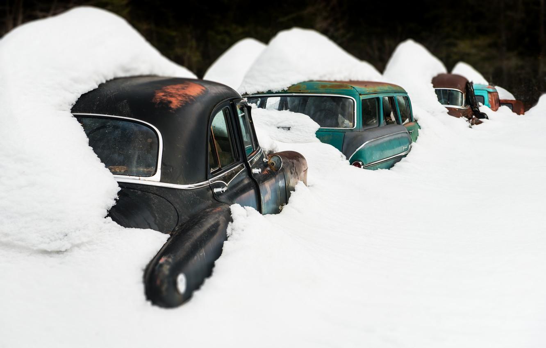 Photo wallpaper snow, machine, scrap