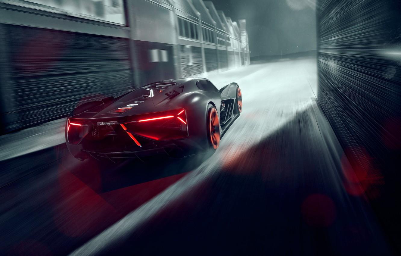 Photo wallpaper Lamborghini, Light, Speed, Hypercar, Rear, The Third Millennium