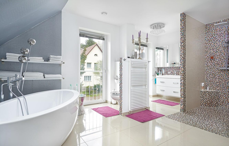 Photo wallpaper design, tile, shower, bath, bathroom