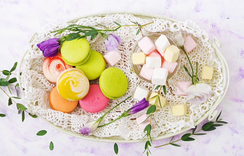 Photo wallpaper flowers, colorful, dessert, pink, flowers, cakes, sweet, sweet, dessert, macaroon, french, macaron, macaroon, marshmallow, marshmallows