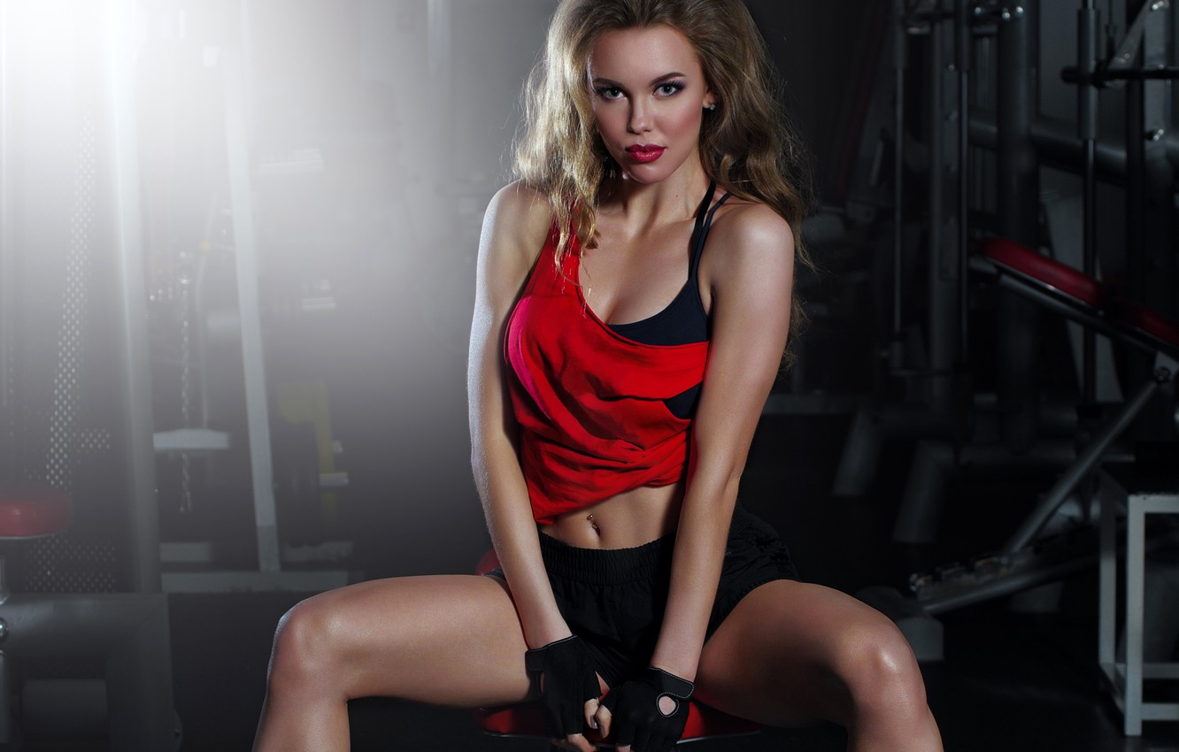 Photo wallpaper look, sexy, pose, sport, shorts, makeup, Mike, figure, hairstyle, gloves, brown hair, beauty, fitness, sitting, …