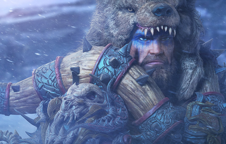 Photo wallpaper look, bear, warrior, male, barbarian, raw