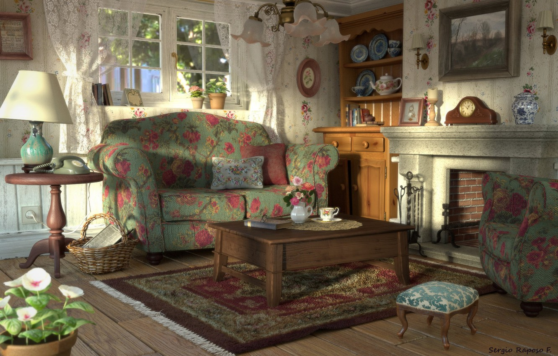 Photo wallpaper comfort, furniture, chandelier, the room, Vintage living room