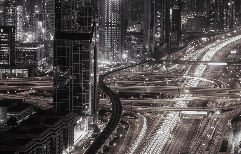 Photo wallpaper light, night, the city, lights, Dubai, UAE