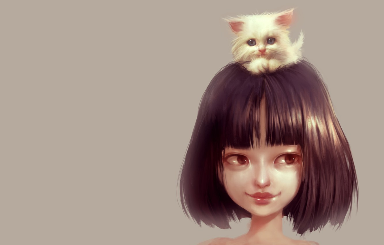 Photo wallpaper baby, friendship, girl, kitty, pussy, pet, Ilse Harting, Cat Lover