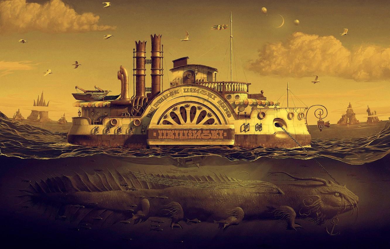 Photo wallpaper sea, dragon, seagulls, steamer, chain, 25kartinok, andrew ferez, Andrew feres