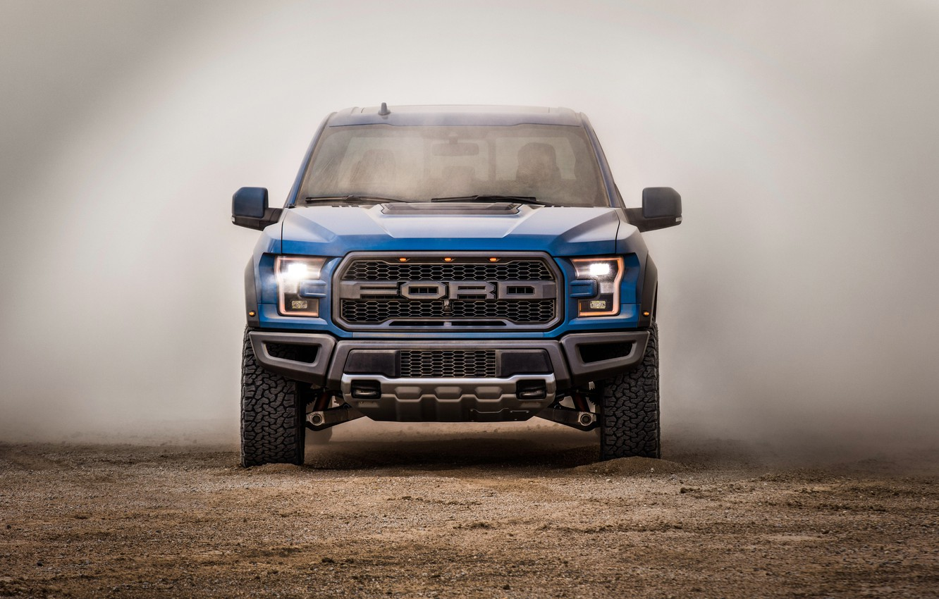 Photo wallpaper Ford, dust, front view, Raptor, pickup, F-150, SuperCrew, 2019