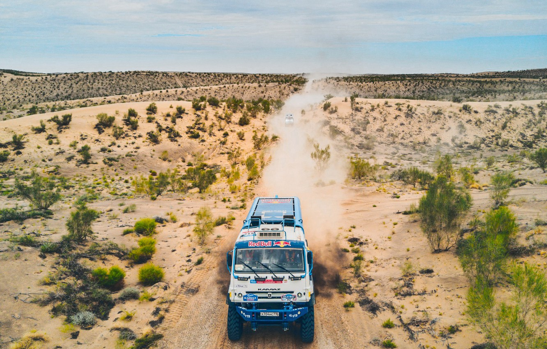 Photo wallpaper The sky, Sand, Nature, Dust, Sport, Speed, Truck, Race, Master, Beauty, Russia, Beast, Kamaz, Rally, …