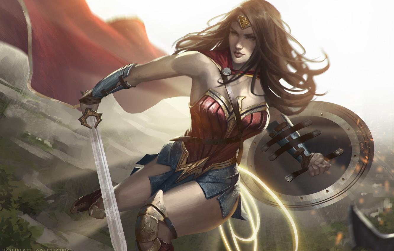 Photo wallpaper Figure, Hair, Sword, Costume, Hero, Brunette, Cloak, Wonder Woman, Superhero, Hero, Art, Art, Brunette, Shield, …