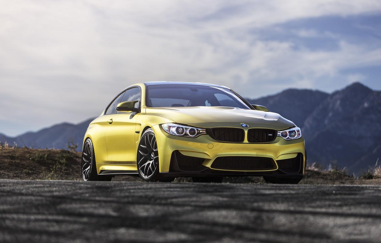 Photo wallpaper BMW, Austin, Yellow, F82, M4