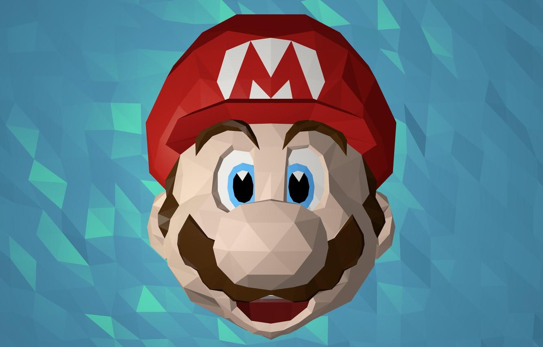 Photo wallpaper face, Mario, Mario, low poly, mario bros
