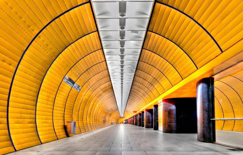 Photo wallpaper metro, Germany, Munich, the tunnel