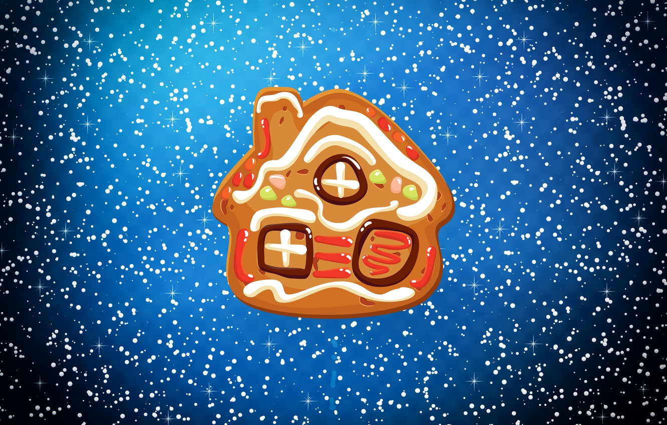 Photo wallpaper Winter, Minimalism, Snow, House, Christmas, House, Snowflakes, Background, New year, Holiday, Cookie