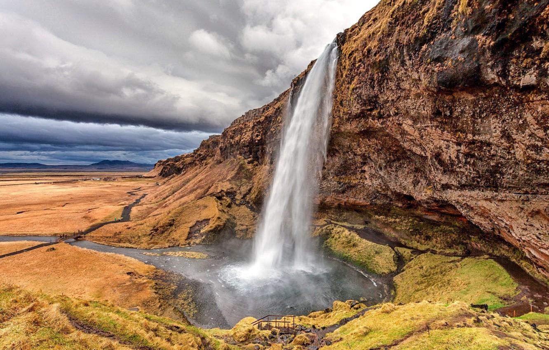 Photo wallpaper nature, rock, waterfall