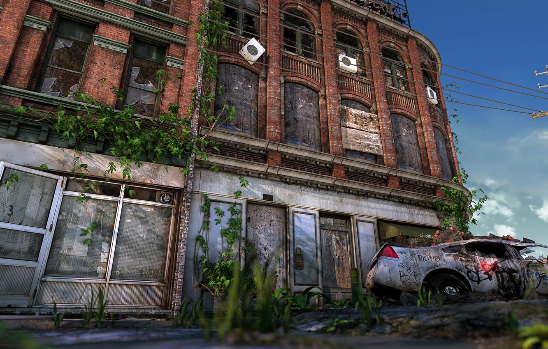 Photo wallpaper the building, destruction, car, desolation, Ruined City