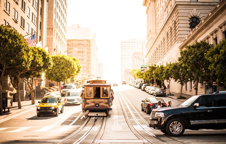 Photo wallpaper trees, machine, the city, people, street, tram, San Francisco
